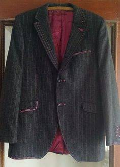 Holland Esquire Mens Blazer 42 Gray Pink Pinstriped Hand Finished Customised #HollandEsquire #TwoButton