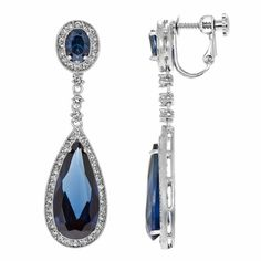 Rori's Fancy Dangle Clip On Earrings - Simulated Sapphire