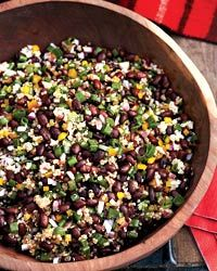 5 stars -- Black Bean and Quinoa Salad Recipe -- the flavor in this was so good. the cilantro and chipotle pepper gave it a mexican flair, but not too overpowering. made just as written, wouldn't change a thing