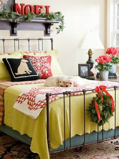 """Oh, and don't forget the bedrooms. They don't need much . . . a simple wreath, a bit of greenery, a festive word, and a snowflake pillow take this room from its everyday look to one that is holiday guest inviting."" - Deb, HomeGoods blogger"