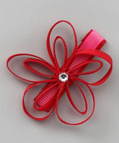 Take a look at this Red Flower Clip by Couture Hair Bows on today! Flower Hair Bows, Diy Hair Bows, Bow Hair Clips, Little Girl Hairstyles, Diy Hairstyles, Pretty Hairstyles, Handmade Hair Accessories, Girls Hair Accessories, Nails Now