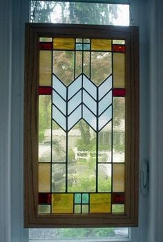 Frank Lloyd Wright inspired Mission style leaded glass panel by GlassGraphicsStudio on Etsy