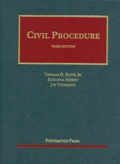 Rowe, Sherry and Tidmarsh's Civil Procedure, 3d (University Casebook Series) (English and English Edition). Makers: Jay Tidmarsh, Thomas Rowe Jr, Suzanna Sherry. 784 pages. Notes are short but intellectually challenging. The teacher's manual suggests strategies for teaching the materials and different approaches for credit allocations and teacher preferences. The book has enough materials to cover topics basically or in depth. The casebook introduces students to the themes running...