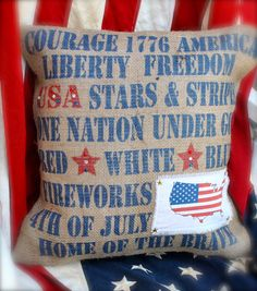 Patriotic words burlap pillow Cover by MonMellDesigns on Etsy, $42.00