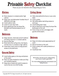 This FREE Printable Safety Checklist is a great resource to help you create safe, supervised spaces for your children in your home | The Happy Housewife
