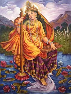 """""""Saraswati,"""" is composed of two Sanskrit words – """"sara,"""" meaning """"flow"""" (as in """"Anusara"""" – """"stepping into the flow of grace"""") and """"wati,"""" meaning """"woman.""""  She is the goddess of knowledge, music, and the arts, and as such is the ultimate conductor of flow or vehicle of creativity."""