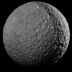This mosaic image taken by the Cassini spacecraft is one of the highest resolution views ever obtained of Mimas. Image credit: NASA / JPL-Caltech / Space Science Institute.