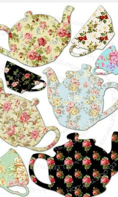 Teapots and cups in every pattern and color! Sewing Appliques, Applique Patterns, Applique Quilts, Applique Designs, Embroidery Applique, Quilt Patterns, Motifs D'appliques, Sewing Crafts, Sewing Projects