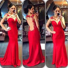 Sexy Charming Red Mermaid Long Evening Dresses Sleeveless