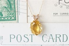 Antique Citrine Necklace | Vintage Solitaire Necklace Pendant | Conversion Jewelry | November Birthstone Jewelry | Citrine Gemstone Pendant by FergusonsFineJewelry on Etsy https://www.etsy.com/listing/250699135/antique-citrine-necklace-vintage