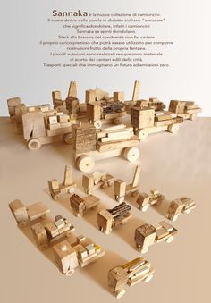 SANNAKA toy truck collection from Italian designer www.alicucio.com made entirely from recycled and found wood!