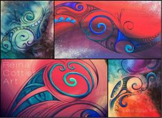 A collage of the Legend Series. Original paintings by Kiwi artist Reina Cottier. www.facebook.com/reinacottierart