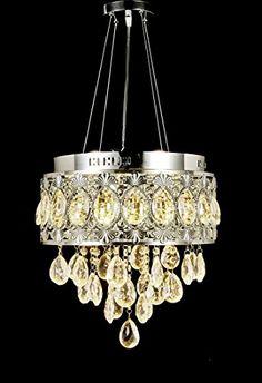 Top Lighting Modern LED Crystal Chandelier Chrome Finish Pendant Hanging or Flush Mount Ceiling Lighting Fixture, 3 light colors in one Smart Lamp,