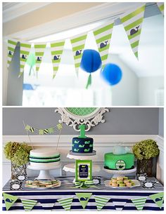 Project Nursery - A Preppy Whale 1st Birthday Party Dessert Table