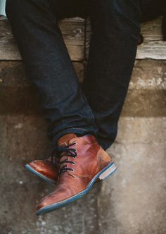 Men's boots with a bit of blue.