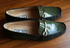 HB Vero Cuoio Womens Green Gold Buckle Loafers Shoes Italy Size EU 38.5 / UK 5.5 in Clothes, Shoes & Accessories, Women's Shoes, Flats | eBay!