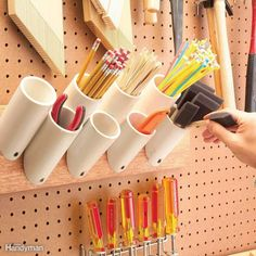 Storage Pockets for Skinny Things Organisation Hacks, Storage Hacks, Storage Solutions, Storage Ideas, Workshop Storage, Workshop Organization, Garage Organization, Garage Workshop, Organized Garage