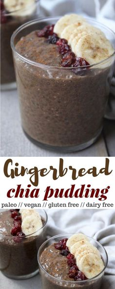 This Gingerbread Chia Pudding takes a classic holiday flavor and turns it into a gluten free, dairy free, vegan, and paleo healthy snack - Eat the Gains dessert christmas recipes Paleo Dessert, Healthy Dessert Recipes, Gluten Free Desserts, Dairy Free Recipes, Vegan Desserts, Vegan Gluten Free, Whole Food Recipes, Healthy Snacks, Vegan Recipes