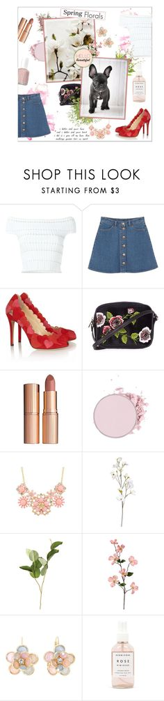 """""""Spring florals"""" by honey-beans-xo ❤ liked on Polyvore featuring Alexander McQueen, Monki, Charlotte Olympia, Topshop, Charlotte Tilbury, OKA, Mixit, Herbivore and Essie"""