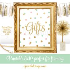 Gift Table Party Sign for Birthday or Baby Shower Gifts - Blush Pink Mint Green Gold Glitter,  Party Printables, Gifts Sign - Big One by SprinkledDesign on Etsy https://www.etsy.com/listing/245738373/gift-table-party-sign-for-birthday-or