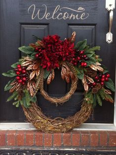 christma wreath, christmas wreaths, christmas design, black doors, christma decor, wreath idea, beauti, winter wreaths, christmas door