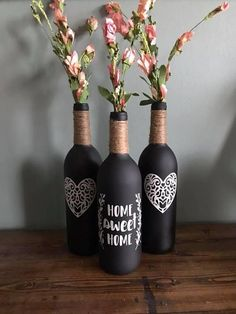 A wonderful gift to give as a house warming present to new homeowners! Includes the 3 wine bottles, flower are included. bottle crafts wedding Items similar to Home Sweet Home Wine Bottle on Etsy Wine Bottle Flowers, Wine Bottle Art, Diy Bottle, Crafts To Sell, Diy And Crafts, Simple Crafts, Glass Bottle Crafts, Crafts With Wine Bottles, Wine Bottles Decor