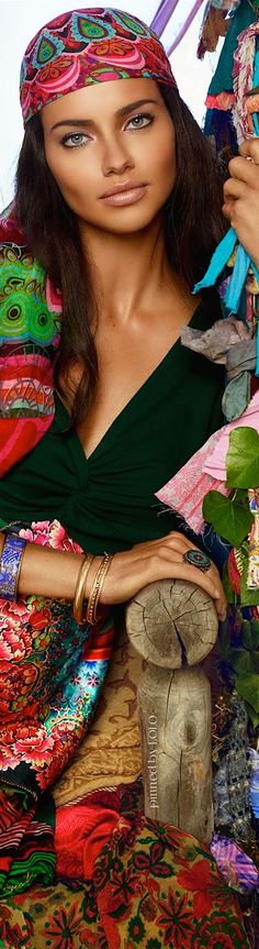 Desigual: La Vida es Chula by Adriana Lima photo by Miguel Reveriego I'm liking the headscarf and she wears it well