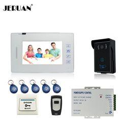 120.65$  Watch here  - JERUAN 7``  touch key video doorphone intercom system access control system monitor speaker intercom hands-free+exit button