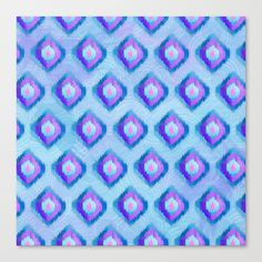 Watercolor Ikat Pattern Canvas Print by Noonday Design | Society6