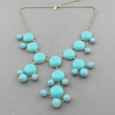 Bubble necklace, handmade bib Necklace/Statement Bubble Necklace,bridesmaid gifts,Beaded Jewelry,Charms Smooth Turquois Bubble Necklace. $12.99, via Etsy.