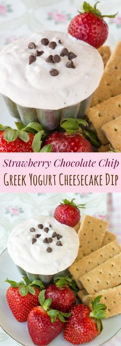 Strawberry Chocolate Chip Greek Yogurt Cheesecake Dip - you only need six ingredients for this healthy dip recipe that's a light sweet treat for an after school snack or dessert. | cupcakesandkalech... | gluten free