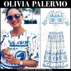 Olivia Palermo in white and blue horse print cropped top and skirt in Italy, August 2019 Olivia Palermo Style, Blue Horse, Horse Print, Royal Fashion, Beautiful Celebrities, Ladies Dress Design, Trendy Outfits, Cropped Top, Style Summer