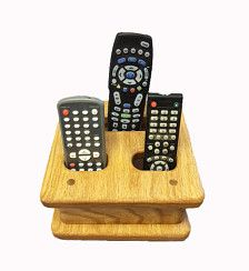 Beautiful solid Oak wood handcrafted tabletop remote control organizer proudly made in the USA.