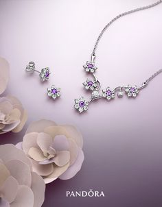 Sneak peek! PANDORA's Spring collection 2016 flourishes with poetic blooms. Pretty and delicate, the purple forget-me-not pieces will breathe in the sweet scent of spring. #PANDORAearrings #PANDORAnecklace