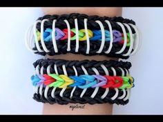 Pulsera de gomitas Rayada | Pinstripe bracelet #raimbowloom #pulserasdegomitas #pulserasdeligas #DIY #pulseras