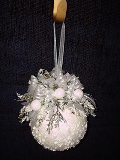 Items similar to Snowy White Christmas Kissing Ball on Etsy. , via Etsy. Beaded Christmas Ornaments, Noel Christmas, Victorian Christmas, Pink Christmas, Homemade Christmas, Christmas Wreaths, Christmas Decorations, Ball Ornaments, Christmas Projects