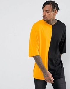 ASOS Super Oversized T-Shirt With Spliced Front In Yellow