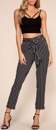 Elsbeth Stripe Highwaist Crop Pants