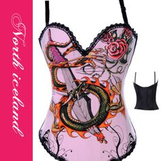 Cheap korsett for women, Buy Quality corset sexy directly from China gothic corset Suppliers: Sword and Dragon Pattern Pink Gothic Corset Sexy Overbust Corselete Feminino Espartilhos Korsett For Women Push Up Bustier Top Corset Bustier, Pink Corset, Sexy Corset, Overbust Corset, Bustier Top, Halloween Corset, Joker, Dragon Pattern, Gothic Corset