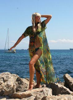 Summer Kaftan Beach CoverUp Sheer Kimono Long Tunic by Aquatonik