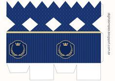 Kit digital gratuito, tema Realeza Azul Marinho, para festa de aniversário dos meninos.