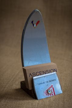 Business card holder made out of old Rossignol ski.