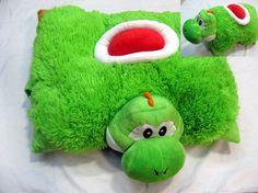 Super Mario Bros Yoshi Pillow Pet Plush I need this! I love Yoshi! Yoshi, Super Mario Brothers, Super Mario Bros, Nintendo, Game Boy, Caleb, Pokemon, Mario And Luigi, Origami