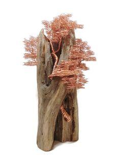Wire Tree Sculpture  Bonsai Tree  Driftwood Sculpture  Wire