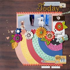 scrapbook page layout idea -- cut out a bunch of circles by increasing diameter by 2 inches for each row