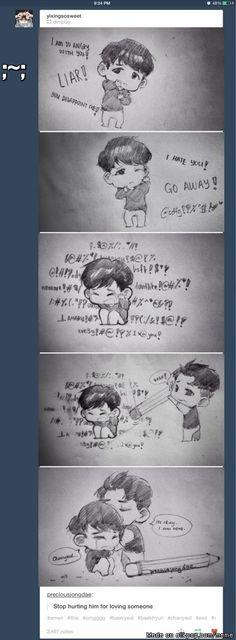 Stop hurting him for loving someone else; credits to preciousjongdae   allkpop Meme Center
