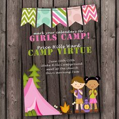 cute Girls Camp invitation, camping invitation, girls camp supplies, customized to your wording needs, young womens invitation