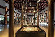 The lobby at Alila Diwa Goa - an architectural delight.