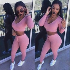Kylie Jenner Inspired 2Pc Hooded Bodycon Jumpsuit - Pink
