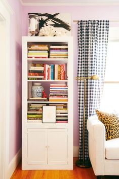 The Decorista Domestic Bliss GAGA FOR GINGHAMa Snapshot Of Matchbook Arranging BookshelvesLiving Room